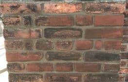 Brick tinting applied to age bricks