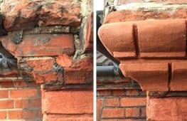 Picture showing repair of broken bricks