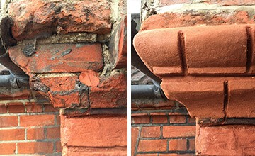 Picture showing repair of broken bricks